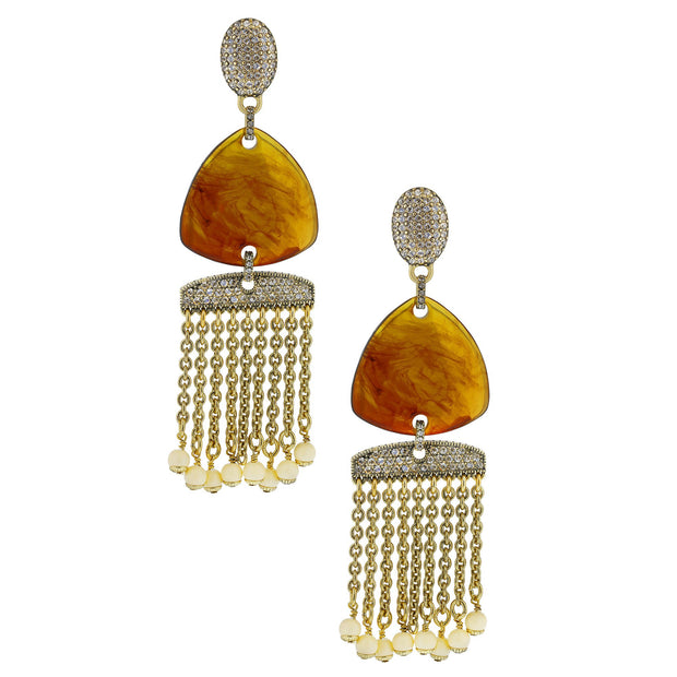 """Wedge Link"" Crystal Resin Dangle Earrings - Heidi Daus®"