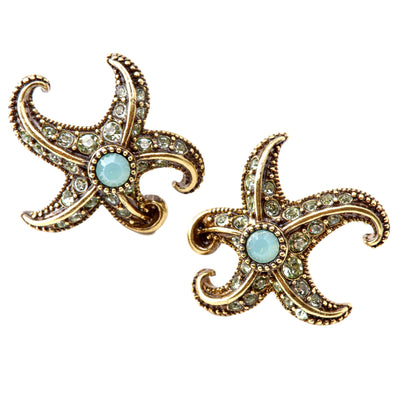 """Starfish"" Swarovski Button Earrings"