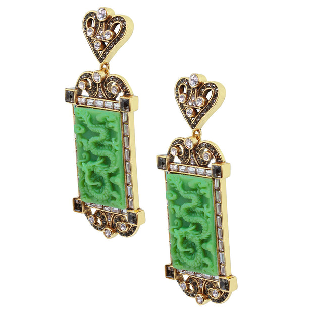 "HEIDI DAUS®""Chinoiserie Carving"" Crystal Rising Dangle Earrings - Heidi Daus®"