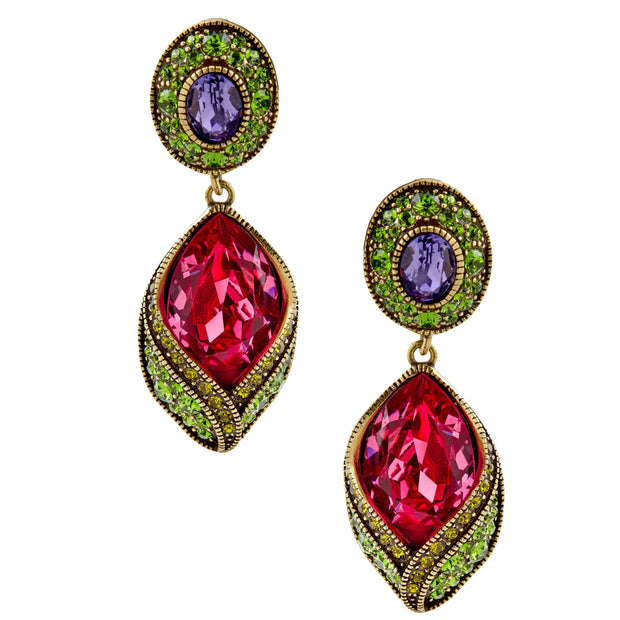 """New Bloom"" Crystal Floral Drop Earrings - Heidi Daus®"