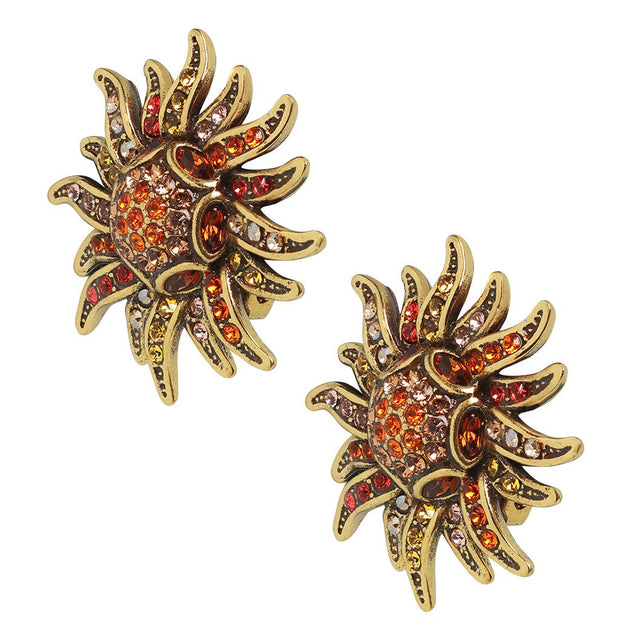 "HEIDI DAUS®""Sun Queen"" Crystal Button Floral Earring - Heidi Daus®"