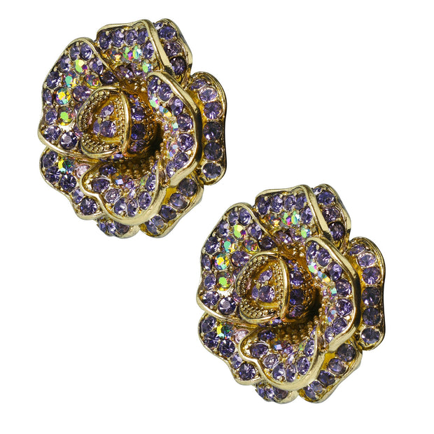 "HEIDI DAUS®""Rose Garden"" Crystal Flower Button Earrings - Heidi Daus®"