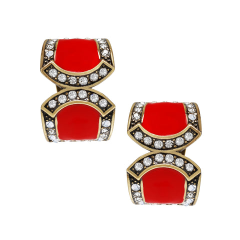 """Bar Harbor Elegance"" Crystal & Enamel Half-Hoop Earrings"
