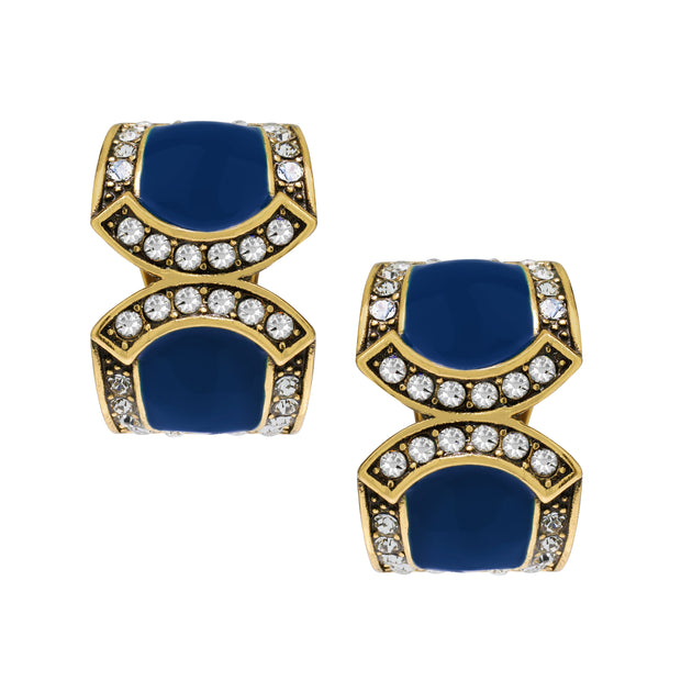 "Heidi Daus® ""Bar Harbor Elegance"" Crystal & Enamel Half-Hoop Earrings - Heidi Daus®"