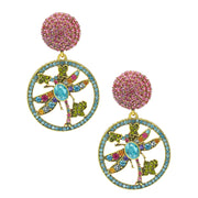 """Color Change"" Crystal Dragonfly Drop Earrings"