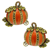 "HEIDI DAUS®""Absolutely Gourd-Geous"" Enamel & Crystal Pumpkin Button Earrings - Heidi Daus®"