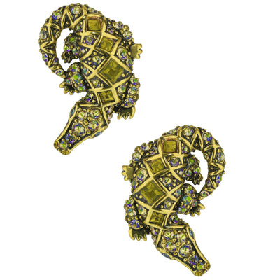 """Alligator Garden"" Crystal Button Alligator Earrings - Heidi Daus®"