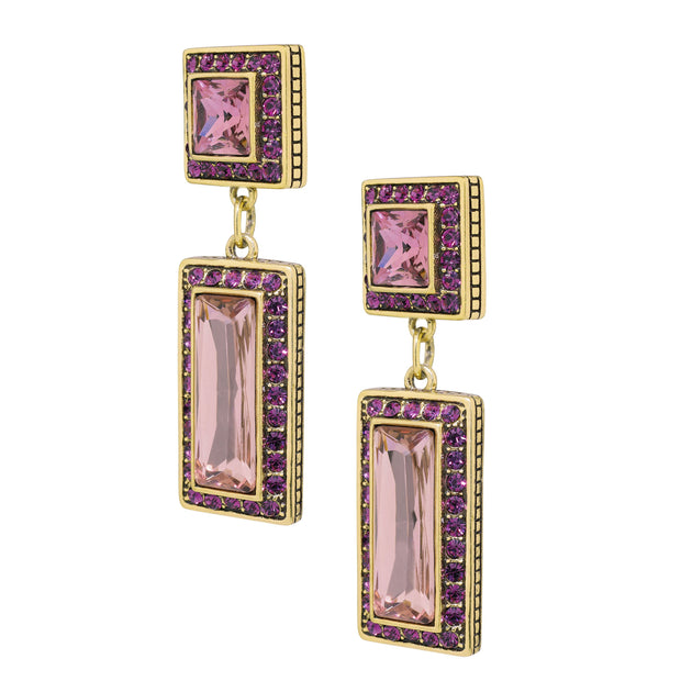 """Fabulous Fancy Cut"" Crystal Deco Drop Earrings - Heidi Daus®"