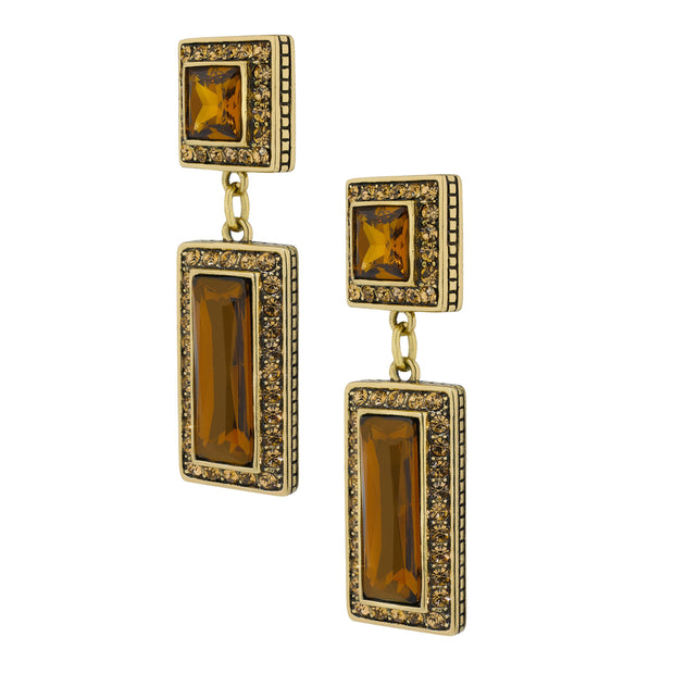"""Fabulous Fancy Cut"" Crystal Deco Drop Earrings"