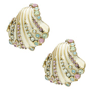 """Ocean Intrigue"" Enamel and Crystal Shell Earrings - Heidi Daus®"