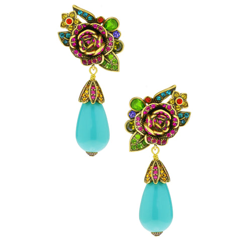 """Radiant Rose"" Crystal Floral Drop Earrings"
