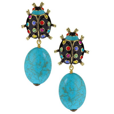 "Heidi Daus®""Critter Couture"" Enamel Beaded Crystal Ladybug Earrings - Heidi Daus®"