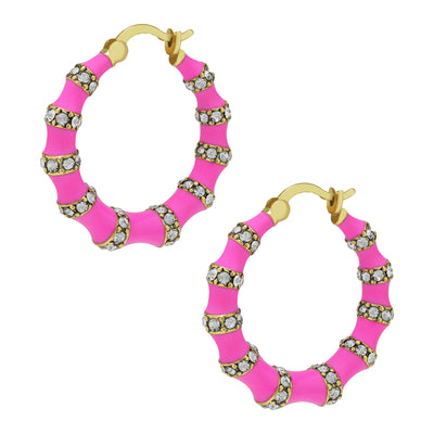 """Bandwith"" Enamel & Crystal Hoop Earrings"