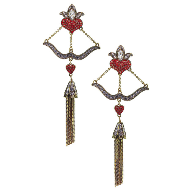 "Heidi Daus®""Take Aim"" Crystal Tassel Chain Dangle Earrings - Heidi Daus®"
