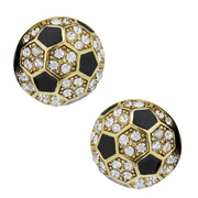 "HEIDI DAUS®""Gorgeous Goal"" Enamel Crystal Button Soccer Earrings - Heidi Daus®"