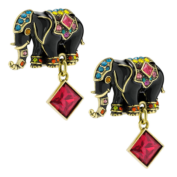 "HEIDI DAUS®""Parade of Prestige"" Enamel Crystal Elephant Earrings - Heidi Daus®"