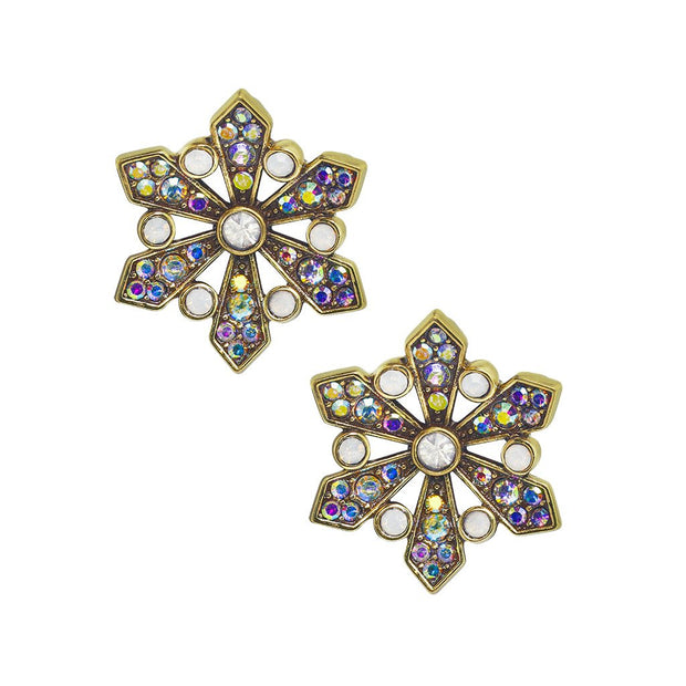 "HEIDI DAUS®""The First Snowfall"" Beaded Crystal Button Earrings - Heidi Daus®"
