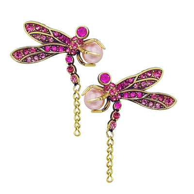 "HEIDI DAUS®""Trembling Brilliance"" Chain Crystal Beaded Dragonfly Earring - Heidi Daus®"