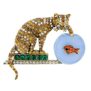 """Fishing"" Crystal Enamel Cat & Fish Pin - Heidi Daus®"