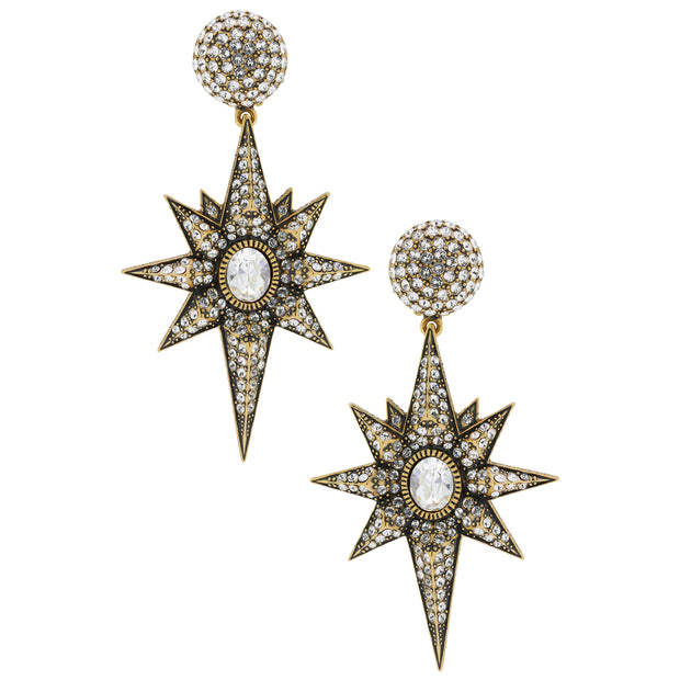 """Star Bright"" Crystal Star Drop Earrings - Heidi Daus®"