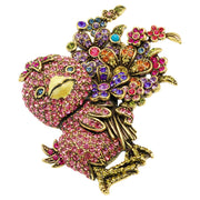 """Duck Tales"" Crystal Chick Floral Pin"