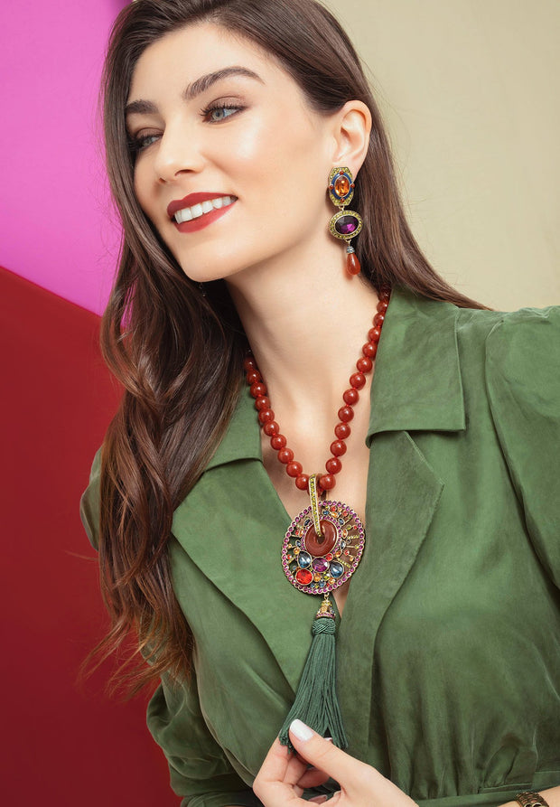 """Good Fortune"" Beaded Resin Crystal Tassel Necklace - Heidi Daus®"