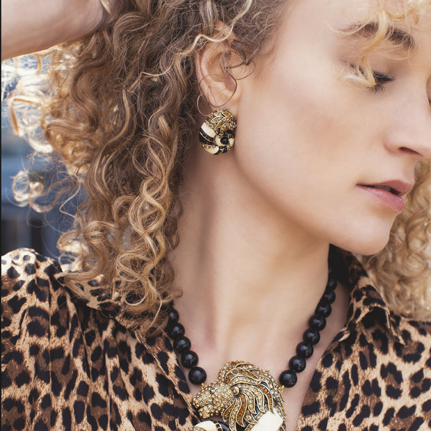 """Jungle Love"" Crystal and Enamel Button Earrings - Heidi Daus®"