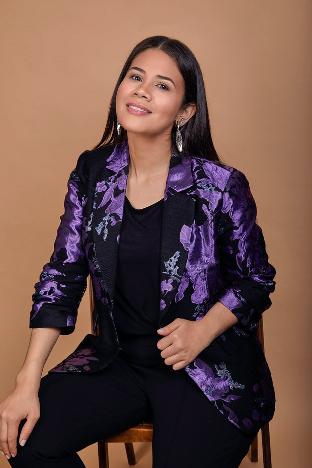 HEIDI DAUS® Midnight Brocade Black and Purple Ruched Sleeve Power Blazer - Heidi Daus®