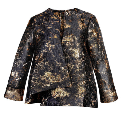 "Heidi Daus® ""Abstract Expression"" Asymmetrical Black and Gold Brocade Jacket"