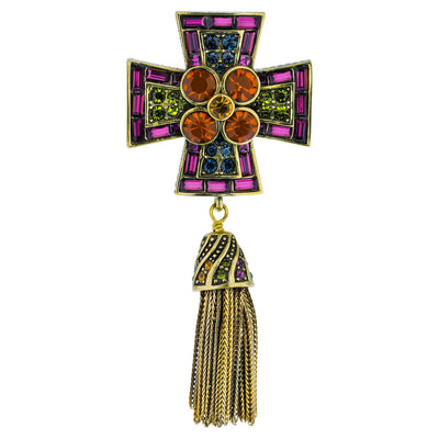 """Full Medal Tassel"" Crystal Cross Tassel  Pin"