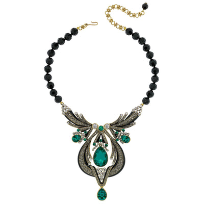 """Draped In Deco"" Enamel & Crystal Deco Necklace"