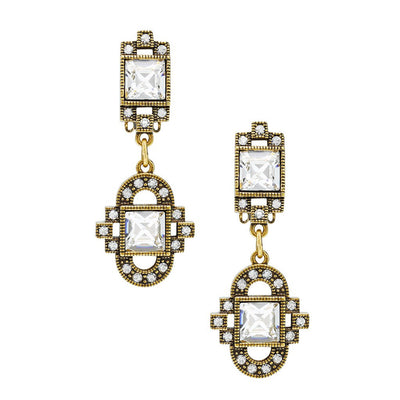 """Deco Drama"" Crystal Deco Drop Earrings"