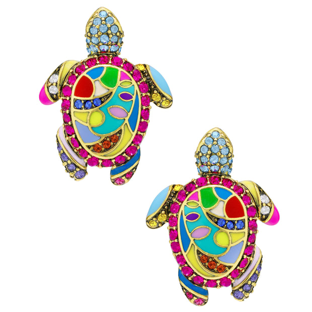 """Totally Tortoise"" Enamel & Crystal Turtle Earrings - Heidi Daus®"