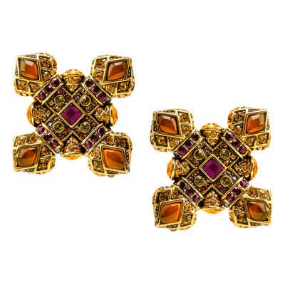 "HEIDI DAUS® ""Vintage Romance"" Crystal Deco Button Earrings - Heidi Daus®"