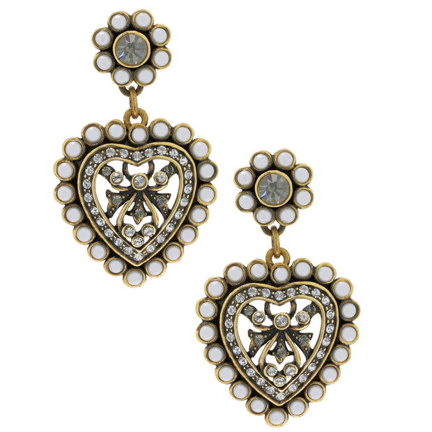 """Heidi's Heartthrob"" Crystal Heart Drop Earrings - Heidi Daus®"