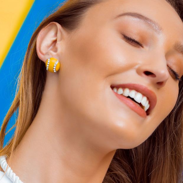 "HEIDI DAUS® ""Smash Hit"" Enamel & Crystal Tennis Ball Earrings - Heidi Daus®"
