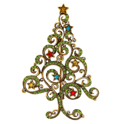 """Filigree Fur"" Crystal Tree Pin"