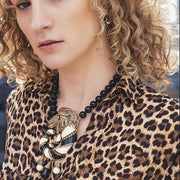 """Jungle Love"" Crystal & Enamel Lion Necklace"