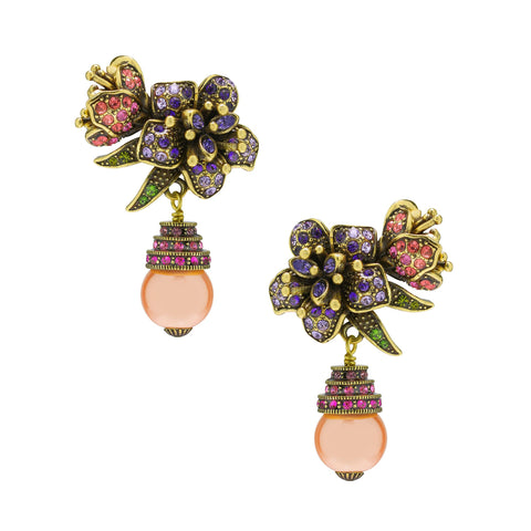 """Pretty Pollination"" Floral Crystal Drop Earrings"
