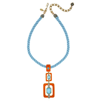 """Thoroughly Modern"" Crystal Cord Deco Drop Necklace"