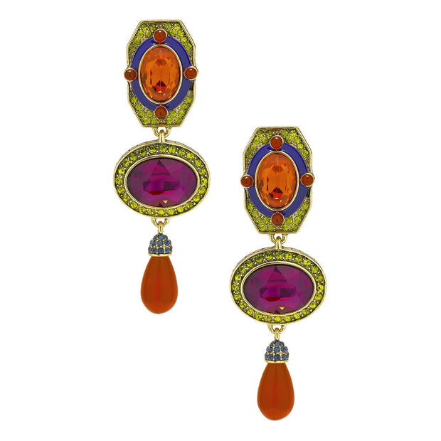"""Classically Modern""  Beaded Enamel & Crystal Deco Drop Earrings"