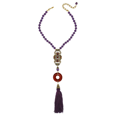 """Classic Deco Heirloom"" Beaded Resin Crystal Tassel Necklace"