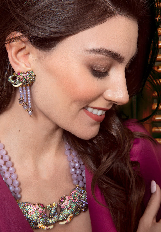 "HEIDI DAUS® ""Double Vision"" Crystal Enamel Beaded Tassel Elephant Earrings - Heidi Daus®"