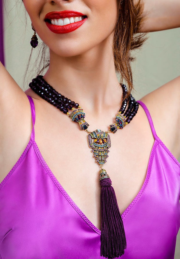 "HEIDI DAUS® ""Majestic Elegance"" Crystal Tassel Beaded Necklace - Heidi Daus®"