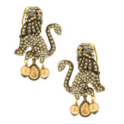 """Lion Royalty"" Pearl & Crystal Lion Earrings"
