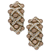 "HEIDI DAUS® ""A Girl And Her Pearls"" Pearl and Crystal Half Hoop Earrings - Heidi Daus®"