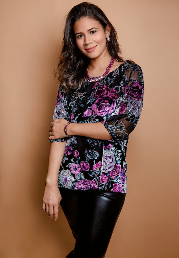 HEIDI DAUS® Moonlit Floral Off the Shoulder Velvet Blouse - Heidi Daus®