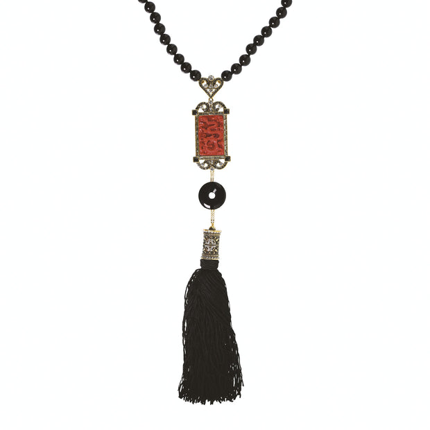 "HEIDI DAUS®""Chinoiserie Carving"" Crystal Rising Tassel Necklace - Heidi Daus®"