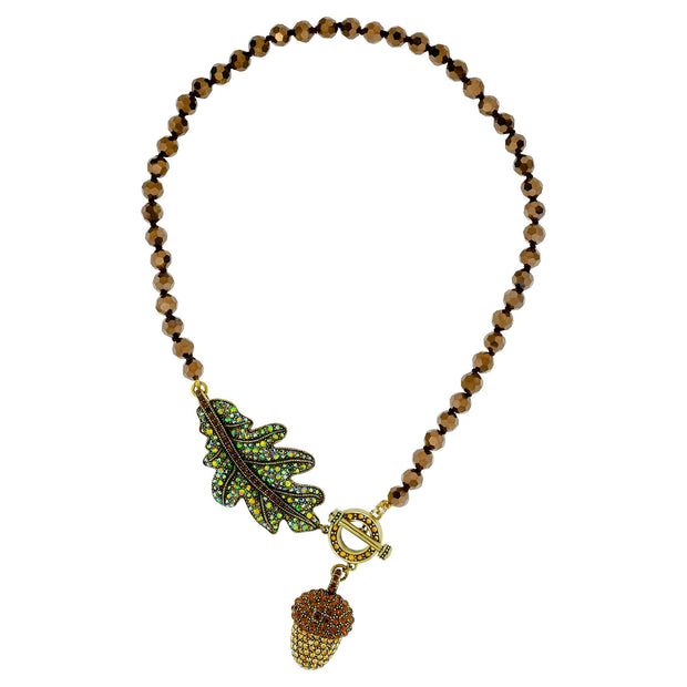 "HEIDI DAUS®""Perfect Acorn"" Crystal & Beaded Acorn Toggle Necklace - Heidi Daus®"