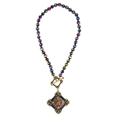 "HEIDI DAUS®""Toggle It"" Enamel Beaded Crystal Toggle Necklace - Heidi Daus®"